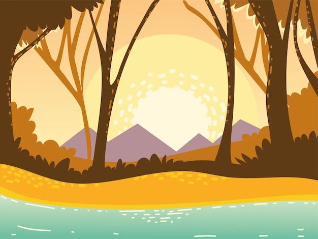 Paisaje bosque montañas árboles río