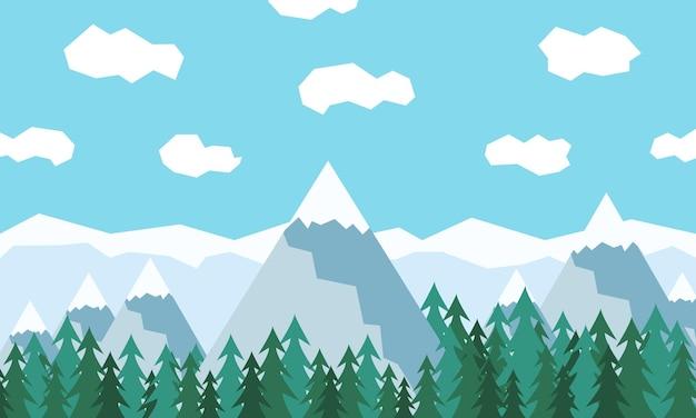 Paisaje de bosque de montañas y cielo con nubes