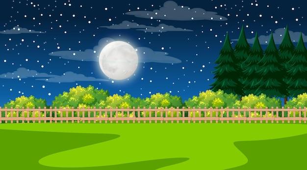 Paisaje de bosque natural en la escena nocturna.
