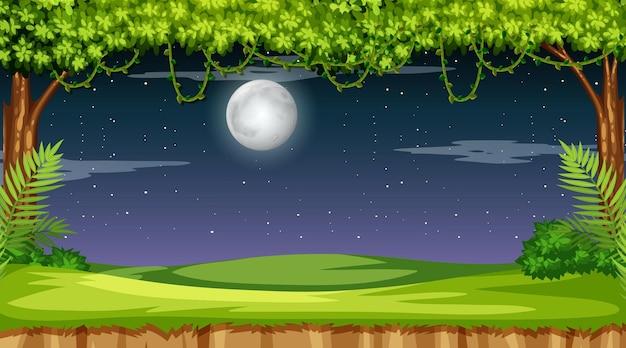 Paisaje de bosque natural en la escena nocturna. vector gratuito