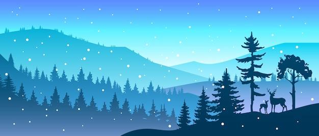 Paisaje de bosque de navidad de invierno con silueta de árboles y ciervos, colinas, copos de nieve, montañas
