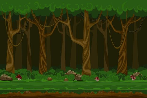 Paisaje de bosque nocturno de juegos de computadora de dibujos animados. planta verde, entorno natural, madera y césped,