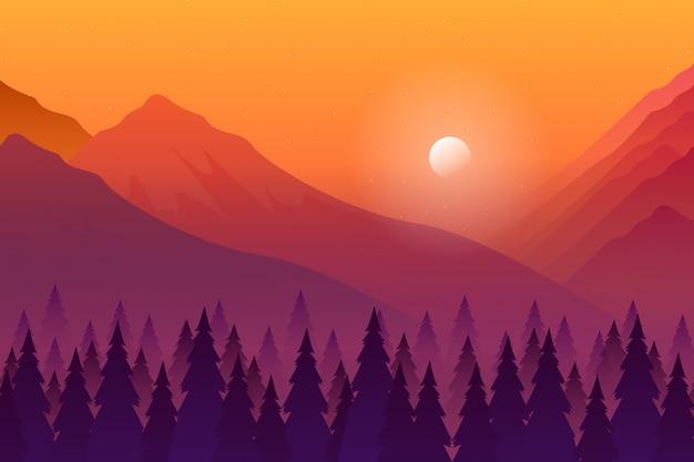 Paisaje de bosque de pinos en la puesta de sol de noche con ilustración de cielo de montaña