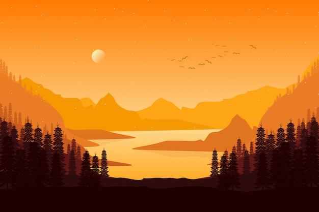 Paisaje de bosque de pinos en la puesta del sol de la tarde con la ilustración del cielo de montaña
