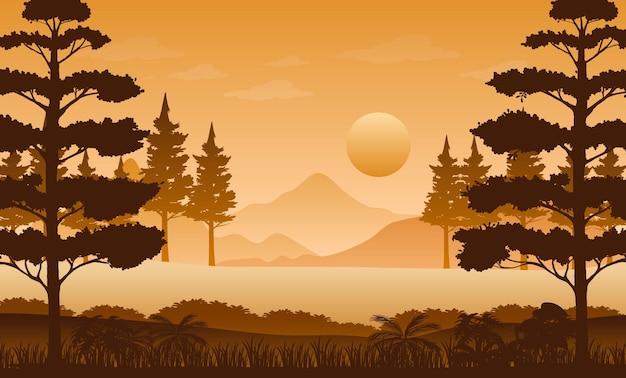 Paisaje de bosque de silueta al atardecer