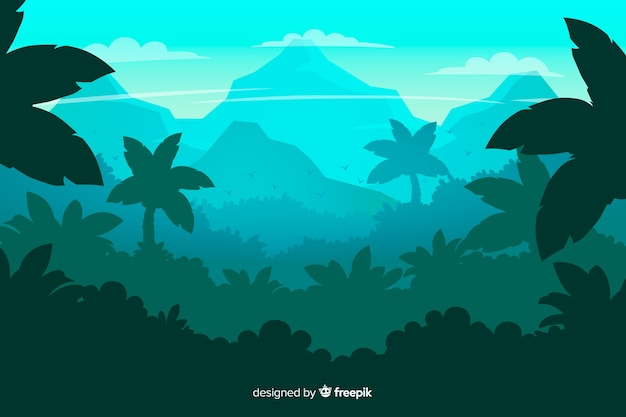 Paisaje de bosque tropical con hojas de palmera