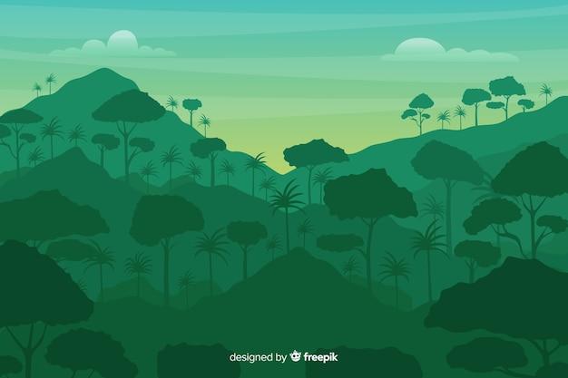 Paisaje de bosque tropical y montañas