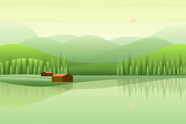 Paisaje de bosque verde con ilustración de montaña y cielo