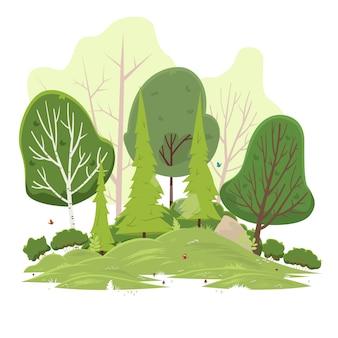 Paisaje: bosque verde del verano y cielo azul.