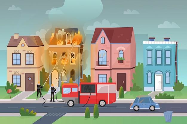 Paisaje de la calle de la ciudad en el panorama de ilustración de dibujos animados de fuego masivo de desastre.