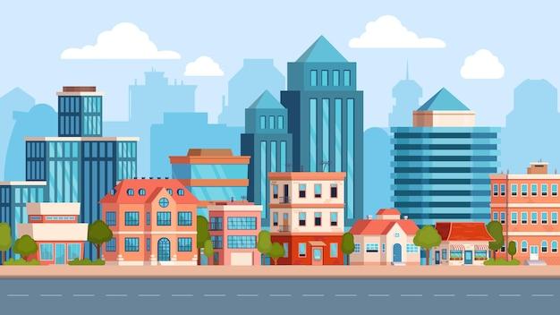 Paisaje de calle de la ciudad plana con rascacielos y edificio de apartamentos. inmuebles de pueblo, casas y carretera. escena del paisaje urbano. panorama de vector urbano