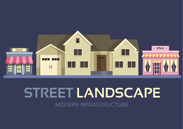 Paisaje de calle de edificios de ciudad colorida plana
