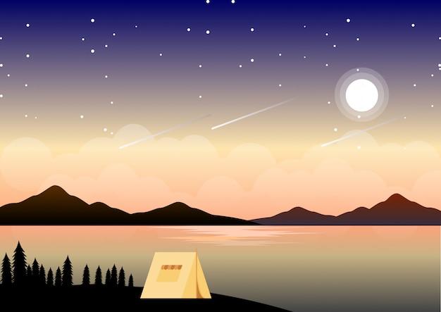 Paisaje de campamento de verano de noche con ilustración de noche estrellada