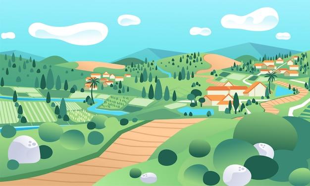 Paisaje campestre con campo de arroz y casas en la colina
