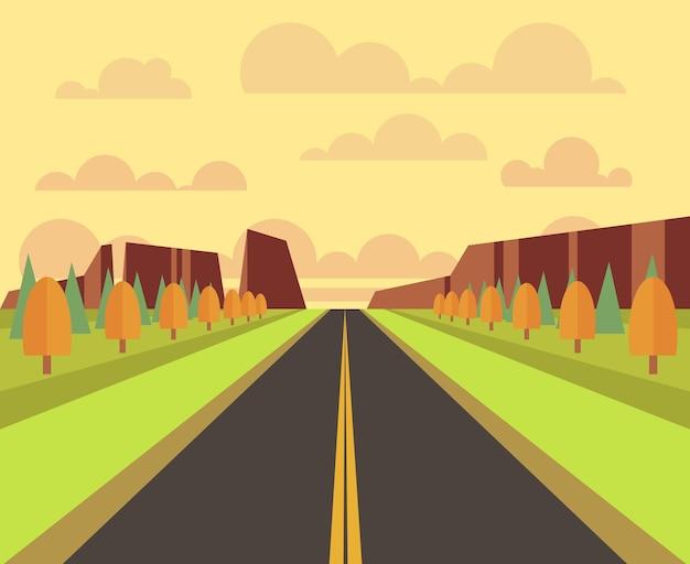 Paisaje campestre con carretera en estilo plano