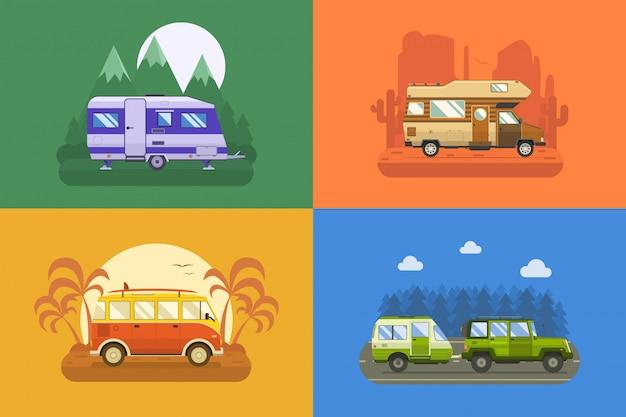 Paisaje de camping de camión de viajero.