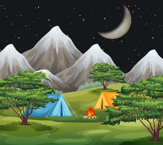 Un paisaje de camping natural.