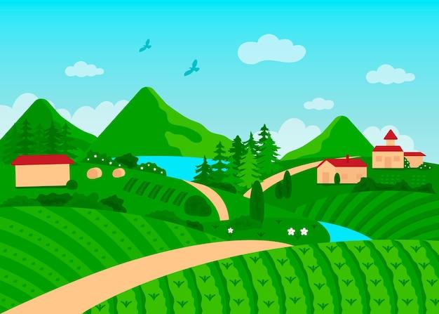 Paisaje de campo con árboles y casas.