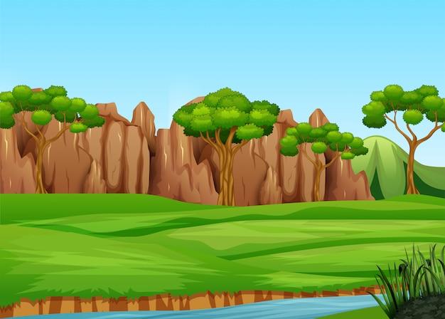 Paisaje de campo con árboles de mani y río.
