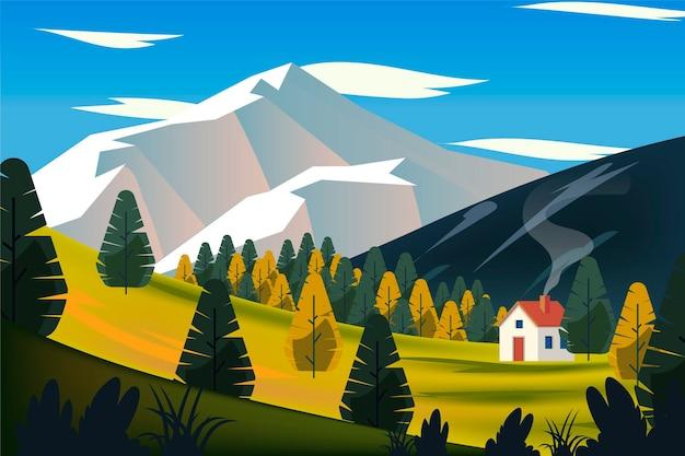 Paisaje de campo con casa en colina