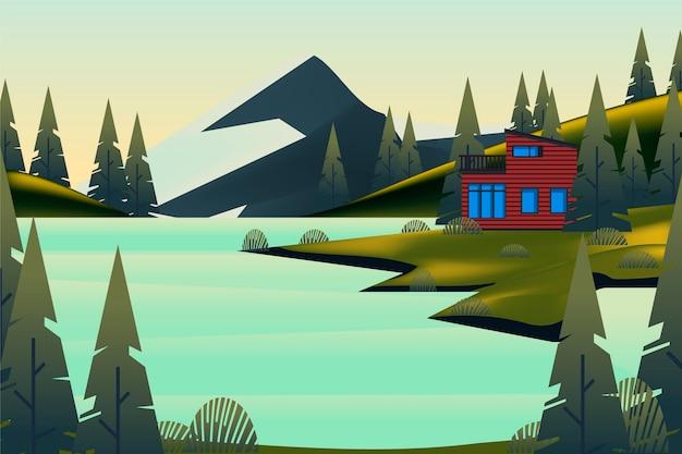 Paisaje de campo con montaña y casa.