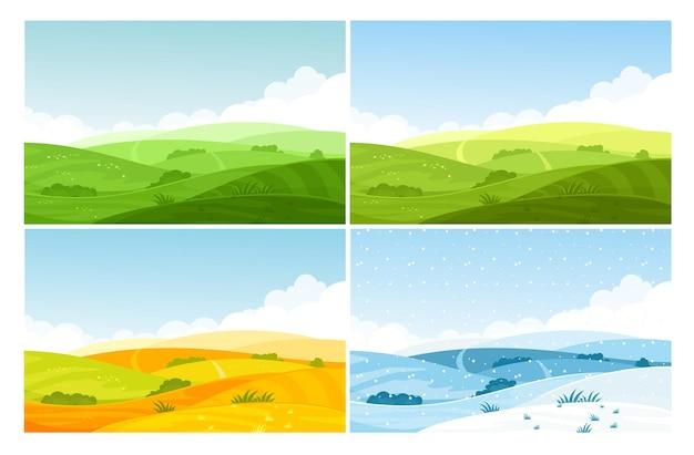 Paisaje de campo de naturaleza en cuatro estaciones.