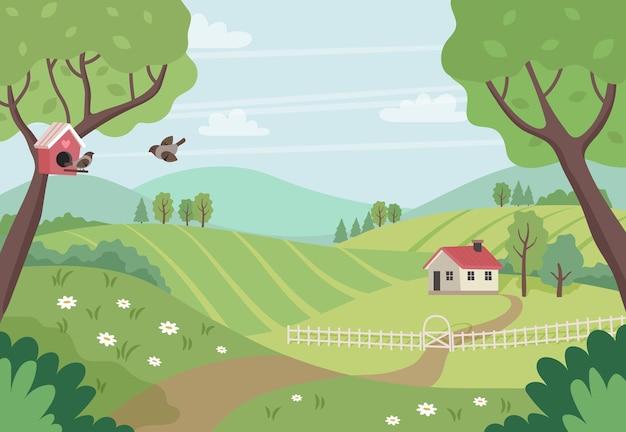 Paisaje de campo de primavera con casa