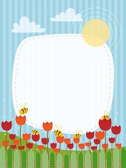 Paisaje de campo primaveral con tulipanes rojos y naranjas.