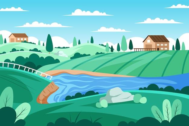 Paisaje de campo con río y casas.