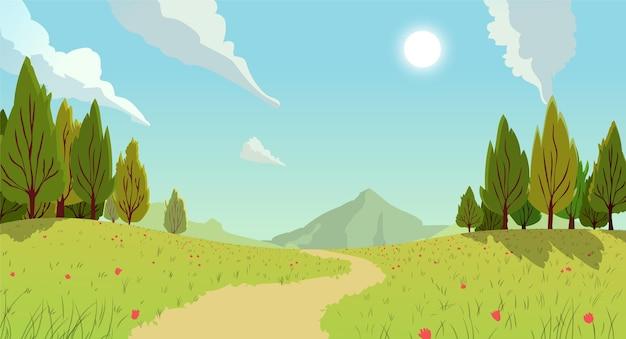 Paisaje de campo con sendero y montaña.