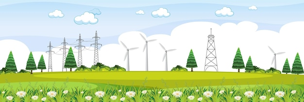 Paisaje de campo verde con escena de turbinas eólicas