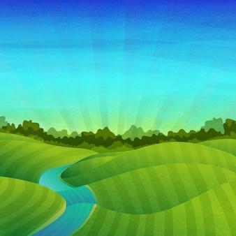 Paisaje con campos, prados, río, amanecer y bosque.