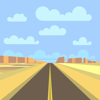 Paisaje de carretera y montaña en estilo plano.