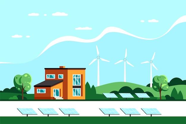 Paisaje con casa moderna, paneles solares y turbinas eólicas. eco house, energy effective house, green energy.