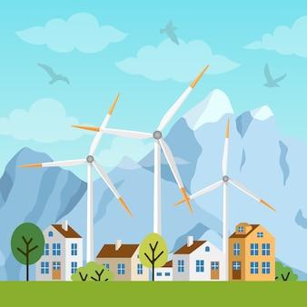 Paisaje con casas, molinos de viento y montañas.