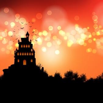 Paisaje de castillo espeluznante con temática de halloween