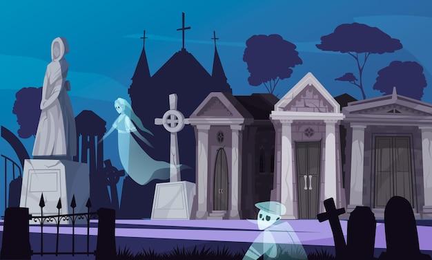 Paisaje de cementerio gótico nocturno con fantasmas, criptas antiguas y monumentos