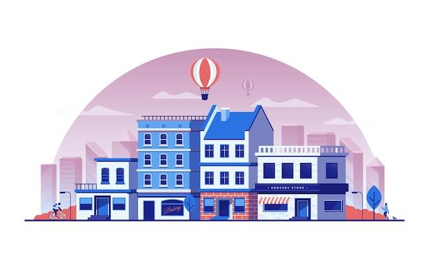 Paisaje del centro de la ciudad con rascacielos, centros comerciales, mercados, panaderías, restaurantes, oficinas y otros paisajes urbanos. ilustración de vector de paisaje urbano