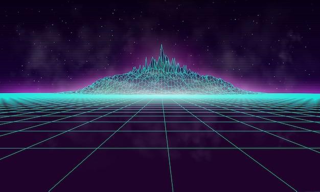 Paisaje cibernético brumoso con montaña, dibujado al estilo de los años 80. fondo de ilustración vectorial retro.