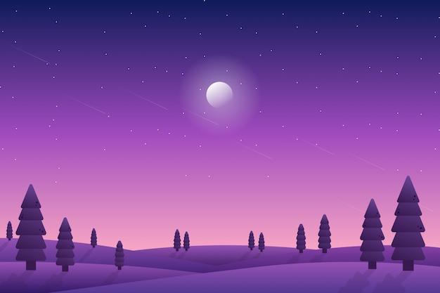Paisaje de cielo nocturno estrellado púrpura con ilustración de bosque de pinos