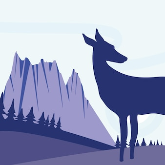 Paisaje de ciervos silueta