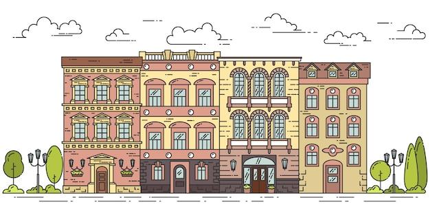 Paisaje de la ciudad con casas, árboles y nubes. ilustracion vectorial estilo de arte de línea plana.