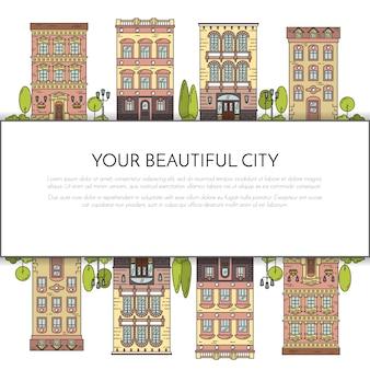 Paisaje de la ciudad con casas, parque, arboles, nubes. ilustracion vectorial línea plana de arte.