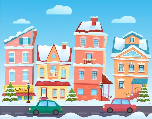 Paisaje de la ciudad de dibujos animados de invierno. navidad con casas graciosas. ciudad nevada en vísperas de vacaciones.