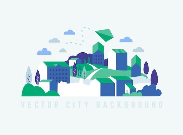 Paisaje de la ciudad ecológica con edificios, colinas y árboles.
