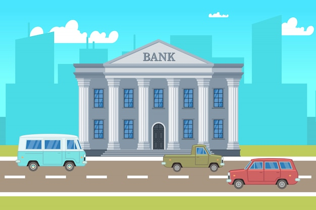 Paisaje de la ciudad con edificio de banco, coches, siluetas de horizontes ilustración vectorial