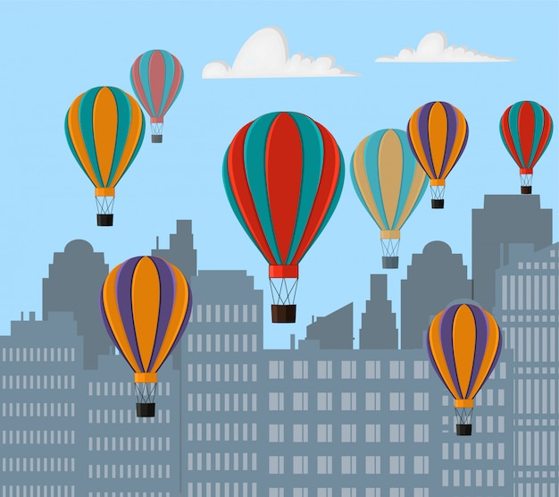 Paisaje de la ciudad con edificios altos y globos voladores. estilo de dibujos animados. ilustración.