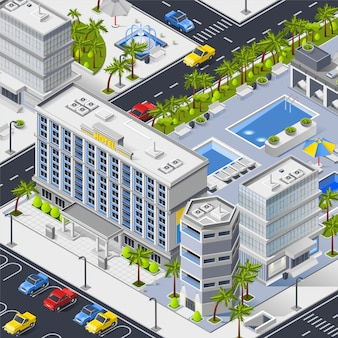 Paisaje de la ciudad con hoteles, piscinas y aparcamiento.