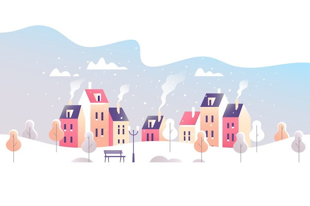 Paisaje de la ciudad de invierno. calle nevada en una pequeña ciudad.