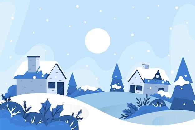 Paisaje de la ciudad de invierno de diseño plano